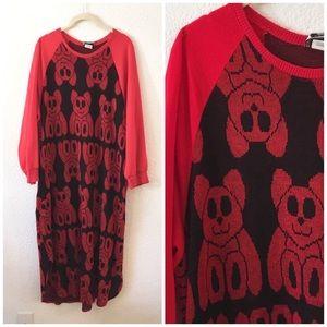 Vintage 80s Red Black Teddy Bear Sweater Dress